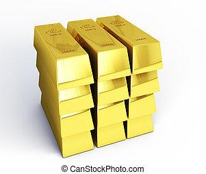 3d render gold bars on white background