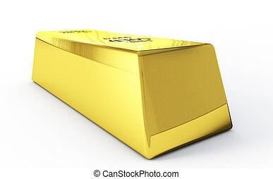 3d render gold bars on white background