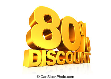 3D render gold text 80 percent discount.