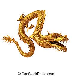 3d render golden Chinese dragon
