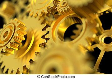 3D Render golden metal wheel gear on back background