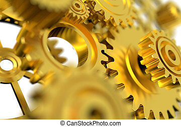 3D Render golden metal wheel gear on white background