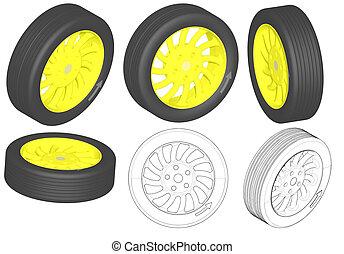 3D render: golden wheel