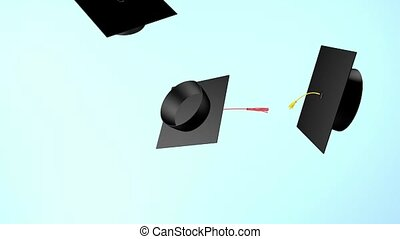 3D render graduation cap throwing tradition. E-learning ...