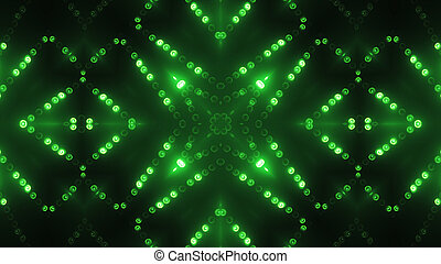 3d render green circle led VJ background