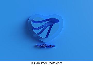 3D Render Heart Love symbol. Valentine's Day sign 3D illustration Graphic Design.