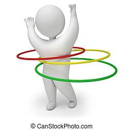 3d render hula hoop - Man spinning hula hoop, on a white...