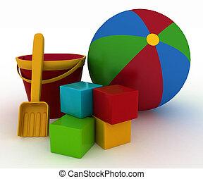 Ball, blocks, bucket