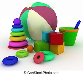 3d render illustration of child's toys. Ball, blocks, pyramid, bucket with a shoulder-blade.