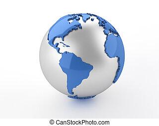 3d render illustration of Earth globe showing America.