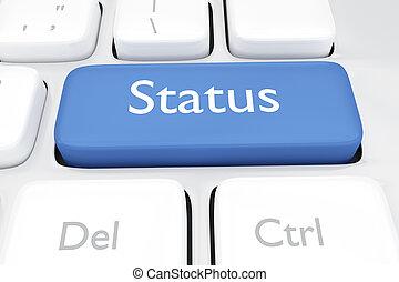 3D render illustration of online social media status key button