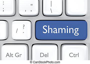 social media shaming button on a ke