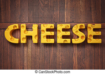 3d render illustration of the word cheese