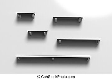 3d render illustration of white empty shelves on a wall.
