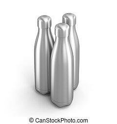 3d render image of 3 reusable steel bottles.