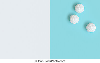 3d render image of golf balls on a white and light blue background
