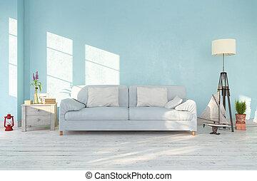3d, render, -, intérieur, de, scandinave, salle de séjour, -, retro, regard