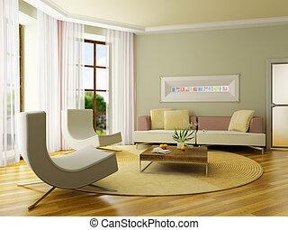 3d, render, interieur