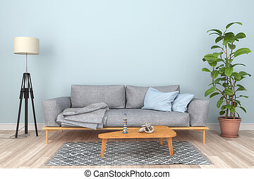 3d render - Interior of a Scandinavian living room with a sofa