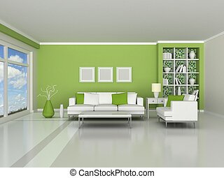 interior of the modern room - 3d render interior of the ...