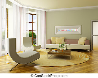 The computer generated 3D image of the modern interior