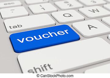 3d render - keyboard - voucher - blue