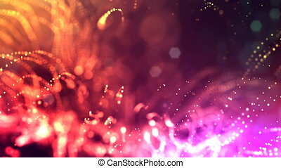 3d render loop animation of glow particles form oscillating lines as swinging garland as holiday background or abstract background of particles with depth of field and bokeh like vj loop. Multicolored