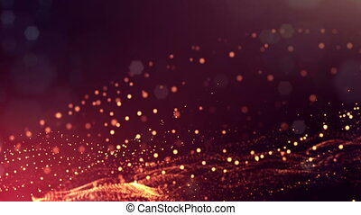 3d render loop animation of glow particles form oscillating...