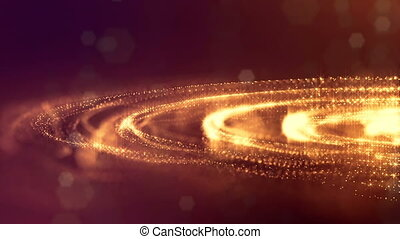 3d render loop sci-fi animation with glow particles form rolling structures. Seamless footage as dark golden digital abstract background with particles, depth of field, bokeh. Motion graphics 2