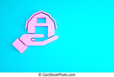 3d, render, mano, fattoria, rosa, illustrazione, minimalismo, isolato, icona, blu, concept., fondo., casa