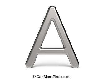 3D render metallic alphabet A