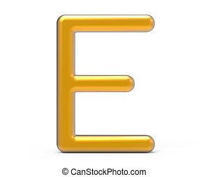 3D render metallic alphabet E