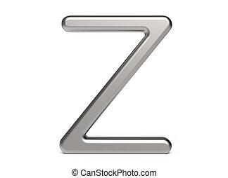 3D render metallic alphabet Z