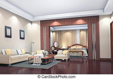 3d render modern interior of living-room, bedroom