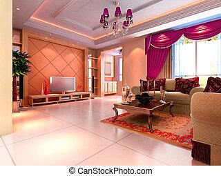3d, render, moderne, intérieur, de, salle séjour