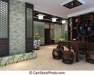 3d, render, moderno, interno, di, soggiorno