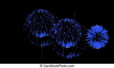 3D Render Multiple Fireworks Blue Sharp Vibrant Clean 4K ver. 10