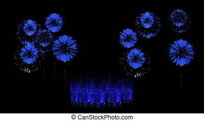 3D Render Multiple Fireworks Blue Sharp Vibrant Clean 4K ver. 14