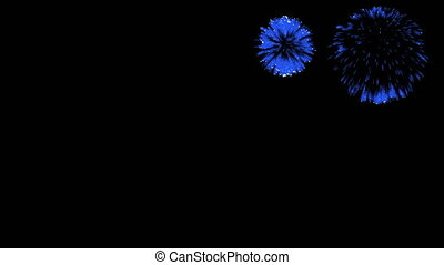 3D Render Multiple Fireworks Blue Sharp Vibrant Clean 4K ver. 33