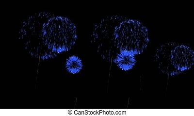 3D Render Multiple Fireworks Blue Sharp Vibrant Clean 4K ver. 34