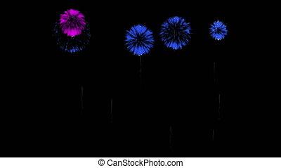 3D Render Multiple Fireworks Blue Sharp Vibrant Clean 4K ver. 43