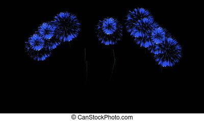 3D Render Multiple Fireworks Blue Sharp Vibrant Clean 4K ver. 47