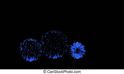 3D Render Multiple Fireworks Blue Sharp Vibrant Clean