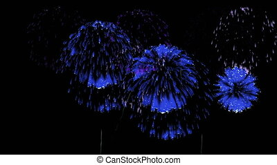 3D Render Multiple Fireworks Blue Sharp Vibrant Clean 4K...