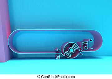 3D Render Music Banner Flyer Poster illustration Design.