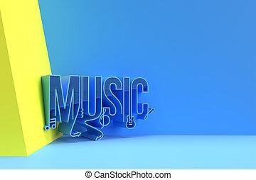 3D Render Music Calligraphic Flyer/Poster illustration Design.