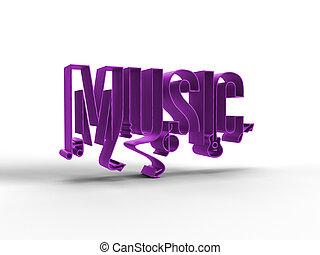 3D Render Music Calligraphic line art illustration Design.