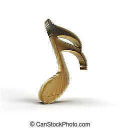 3D Render Music Notes illustration Design.