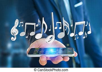 3d, render, notas música, ligado, um, futurista, interface
