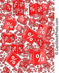 3d, render, od, czerwony, jarzyna pokrajana w kostkę, znaczony, z, procent znaczą, falling.